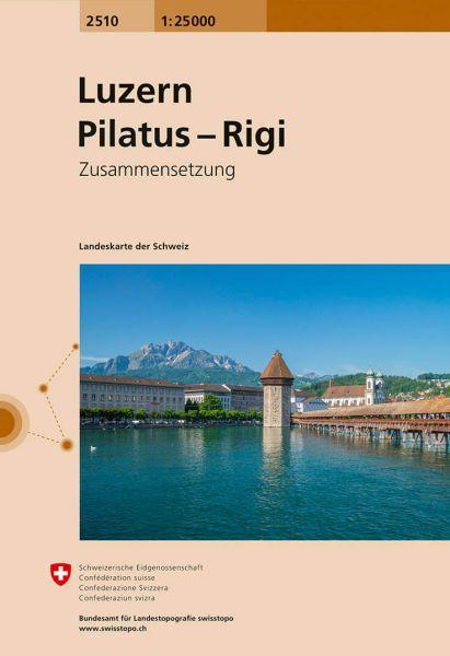 2510 Luzern - Pilatus - Rigi topographische Wanderkarte Schweiz 1:25.000