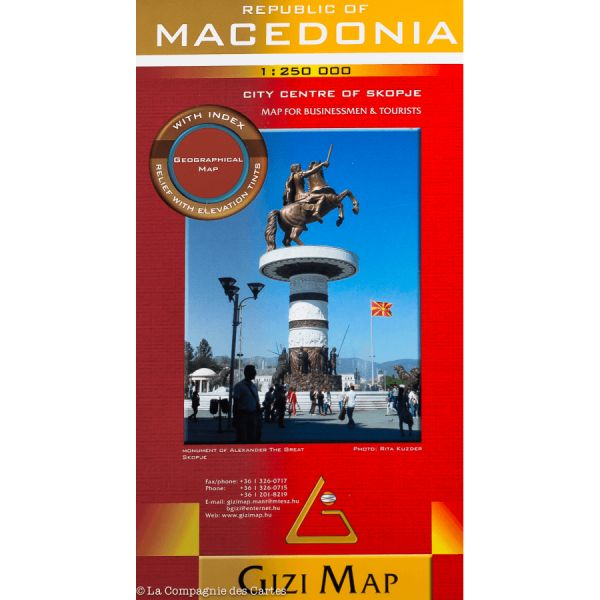Mazedonien / Macedonia physische Straßenkarten 1:250.000 Gizi Map
