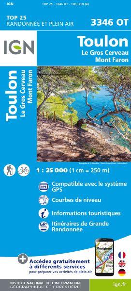 IGN 3346 OT Toulon, Le Gros Cerveau, Frankreich Wanderkarte 1:25.000