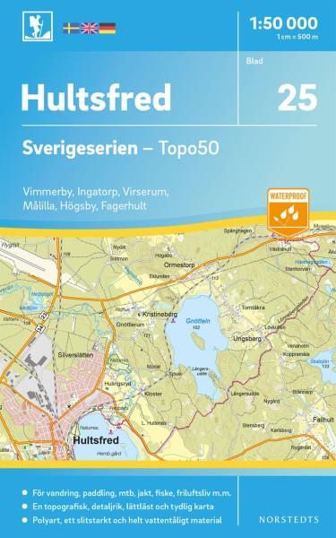 Hultsfred Wanderkarte 1:50.000, Schweden Topo50 Blatt 25