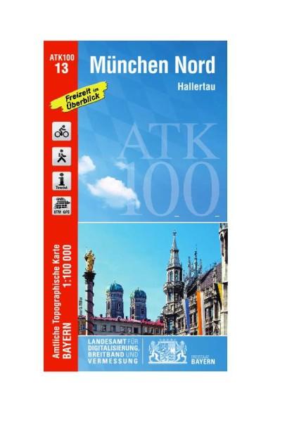 ATK100 Blatt 13 München Nord, Freizeitkarte, 1:100.000 amtliche topographische Karte