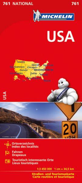 Michelin 761 USA Touristisch interessante Orte, Nationalparks, Ortsverzeichnis. 1:3,45 Mio.