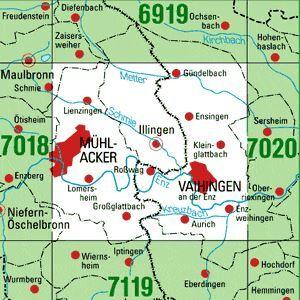 7019 MÜHLACKER topographische Karte 1:25.000 Baden-Württemberg, TK25