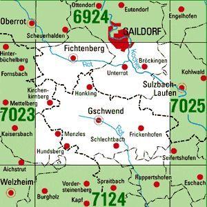 7024 GSCHWEND topographische Karte 1:25.000 Baden-Württemberg, TK25