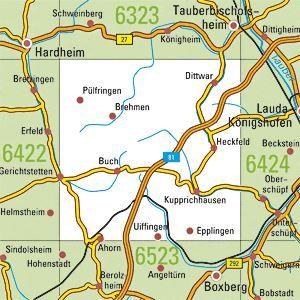 6423 AHORN topographische Karte 1:25.000 Baden-Württemberg, TK25
