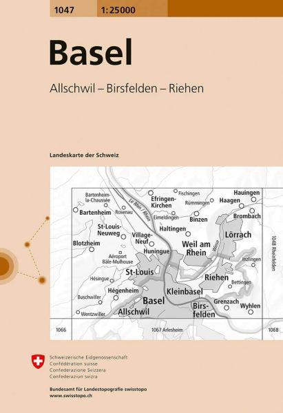 1047 Basel topographische Wanderkarte Schweiz 1:25.000
