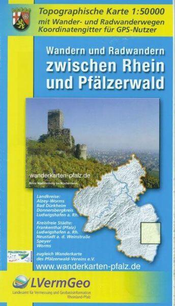Wandern und Radwandern zwischen Rhein und Pfälzerwald, topographische Karte 1:50.000
