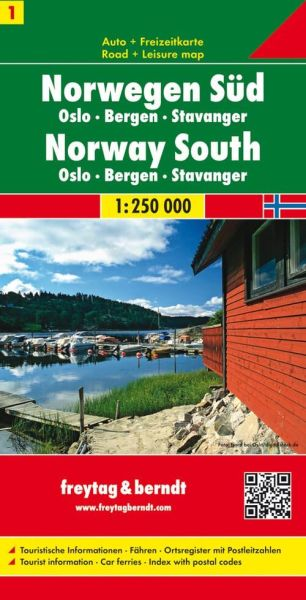 Norwegen Süd Oslo, Bergen, Stavanger, Straßenkarte 1:250.000, Freytag und Berndt