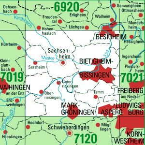 7020 BIETIGHEIM-BISSINGEN topographische Karte 1:25.000 Baden-Württemberg, TK25