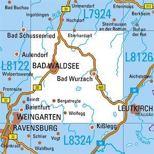 L8124 Bad Waldsee topographische Karte 1:50.000 Baden-Württemberg, TK50