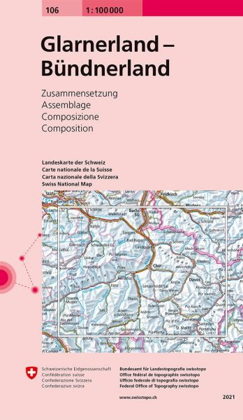 106 Glarnerland Topographsiche Karte Schweiz 1:100.000 Swisstopo