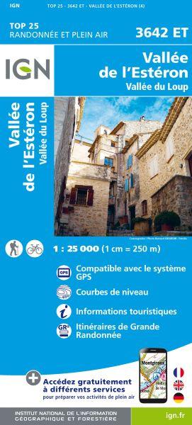 IGN 3642 ET Vallée de l'Estéron / Vallée du Loup, Frankreich Wanderkarte 1:25.000