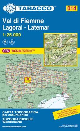 Tabacco 014 Val di Fiemme - Lagorai - Latemar Wanderkarte 1:25.000
