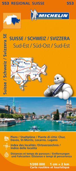 Michelin 553 Schweiz Süd-Ost Straßenkarte 1:200.000