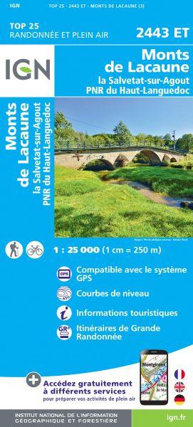 IGN 2443 ET Monts de Lacaune, Frankreich Wanderkarte 1:25.000