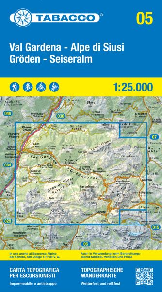 Tabacco 05 Gröden / Val Gardena - Seiseralm / Alpe di Suisi Wanderkarte 1:25.000