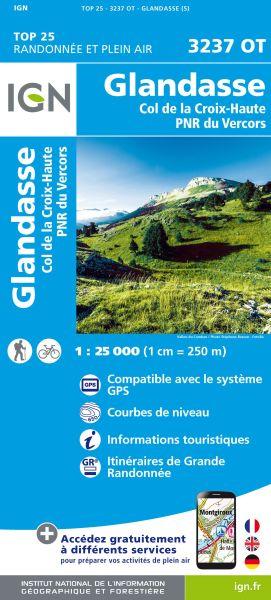 IGN 3237 OT Glandasse / Col de la Croix-Haute / PNR du Vercors, Frankreich Wanderkarte 1:25.000