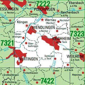 7322 KIRCHHEIM U.TECK topographische Karte 1:25.000 Baden-Württemberg, TK25