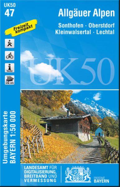 UK50-47 Allgäuer Alpen Rad- und Wanderkarte 1:50.000 - Umgebungskarte Bayern