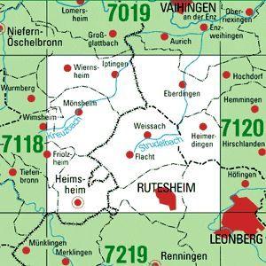 7119 RUTESHEIM topographische Karte 1:25.000 Baden-Württemberg, TK25