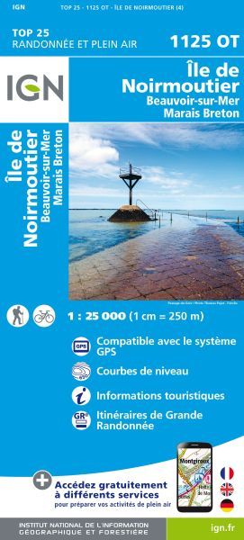 IGN 1125 OT Ile de Noirmoutier; Frankreich Wanderkarte 1:25.000