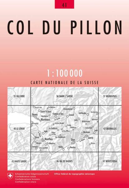 41 Col du Pillon topographische Karte Schweiz 1:100.000