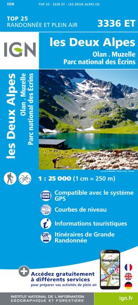 IGN 3336 ET Les Deux Alpes, Olan, Muzelle Frankreich Wanderkarte 1:25.000