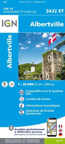 IGN 3432 ET Albertville, Frankreich Wanderkarte 1:25.000