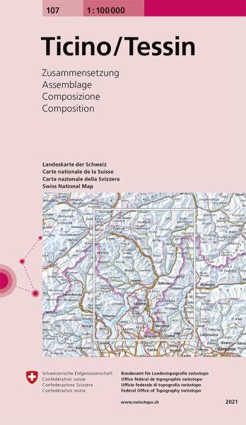 107 Ticino / Tessin topographische Karte Schweiz 1:100.000