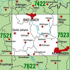 7522 BAD URACH topographische Karte 1:25.000 Baden-Württemberg, TK25