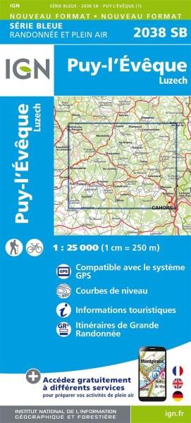 IGN 2038 Puy-l'Eveque / Luzech, Frankreich Wanderkarte 1:25.000