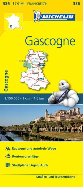 Michelin local 336 Gascogne Straßenkarte 1:150.000