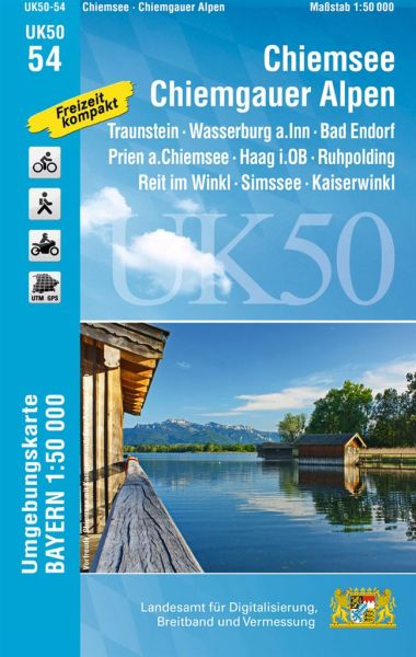 UK50-54 Chiemsee - Chiemgauer Alpen Rad- und Wanderkarte 1:50.000 - Umgebungskarte Bayern