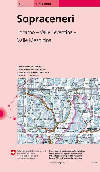 43 Sopra Ceneri topographische Karte Schweiz 1:100.000