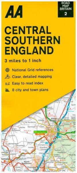 AA Straßenkarte Blatt 2, Central Southern England 1:200.000