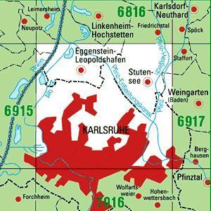 6916 KARLSRUHE-NORD topographische Karte 1:25.000 Baden-Württemberg, TK25