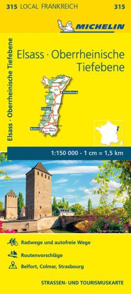 Michelin local 315 Elsass, Oberrheinische Tiefebene Straßenkarte 1:150.000