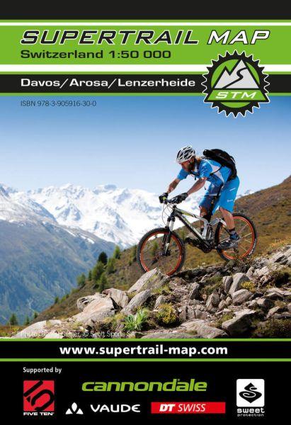 Supertrail Map Davos/ Arosa/ Lenzerheide MTB-Karte, 1:50.000, Wasser- und reißfest
