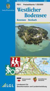 Westlicher Bodensee Freizeitkarte in 1:50.000 - F511 mit Rad- und Wanderwegen