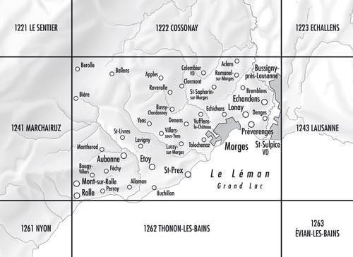 1242 Morges topographische Karte Schweiz 1:25.000