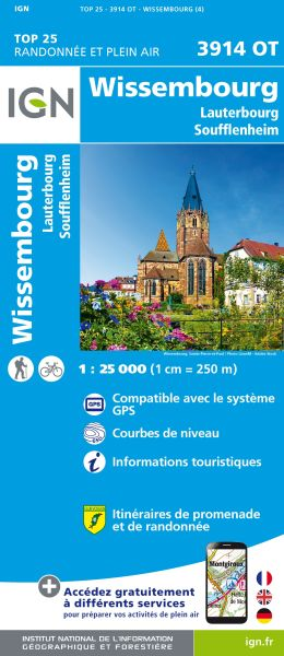 IGN 3914 OT Wissembourg, Frankreich topographische Wanderkarte 1:25.000