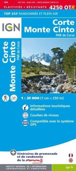 IGN 4250 OTR Corte, Monte Cinto, Korsika wasser- und reißfeste Wanderkarte 1:25.000
