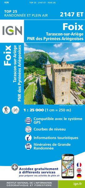 IGN 2147 ET Foix / Tarascon-Sur-Ariège, Frankreich Wanderkarte 1:25.000