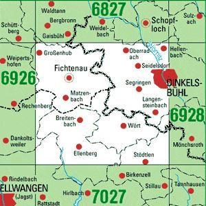 6927 DINKELSBÜHL topographische Karte 1:25.000 Baden-Württemberg, TK25