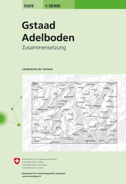 5009 Gstaad - Adelboden topographische Wanderkarte Schweiz 1:50.000