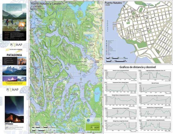 Torres del Paine 1:75.000 & Puerto Natales Stadtplan