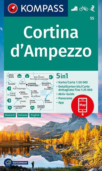 Kompass Karte 55, Cortina d'Ampezzo 1:50.000, Wandern, Rad fahren