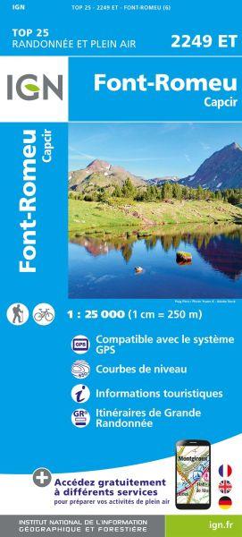 IGN 2249 ET Font-Romeu, Capcir, Frankreich Wanderkarte 1:25.000