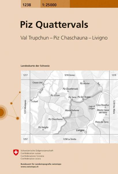 1238 Piz Quattervals topographische Wanderkarte Schweiz 1:25.000
