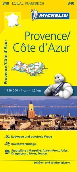 Michelin local 340 Provence, Côte d'Azur Straßenkarte 1:150.000